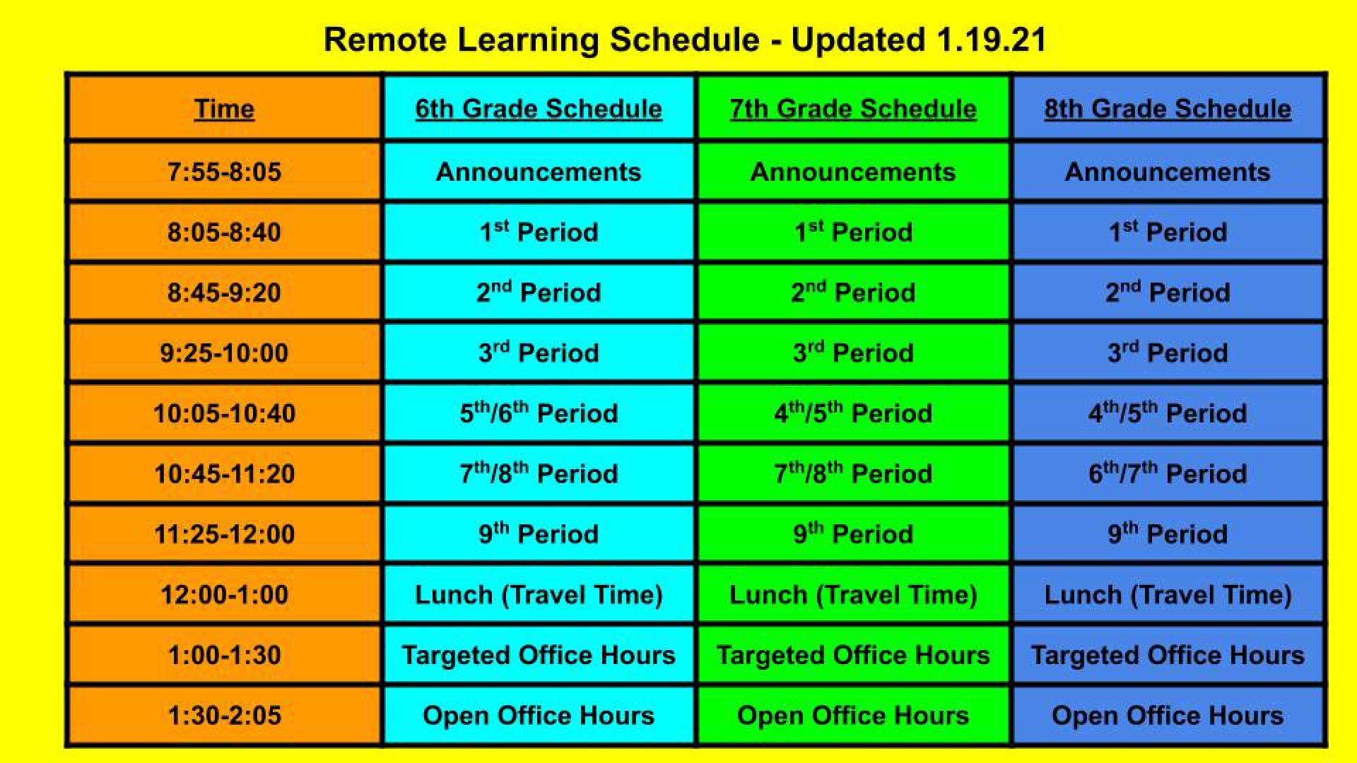 slidshow image - Remote Learning Schedule-Updated 1.19.21 -